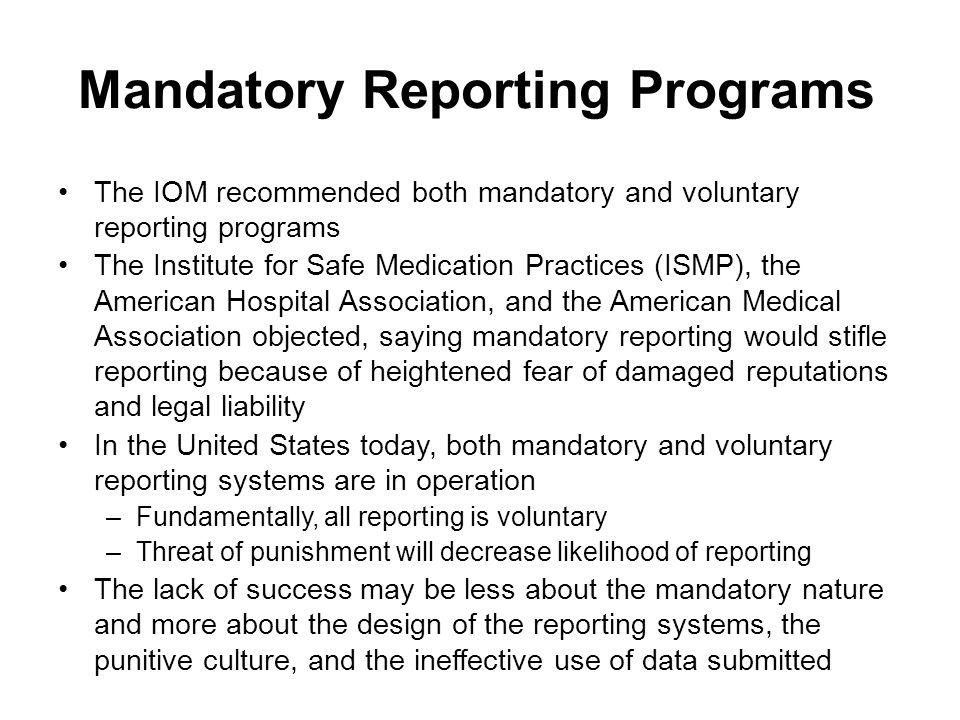 Mandatory Reporting Programs
