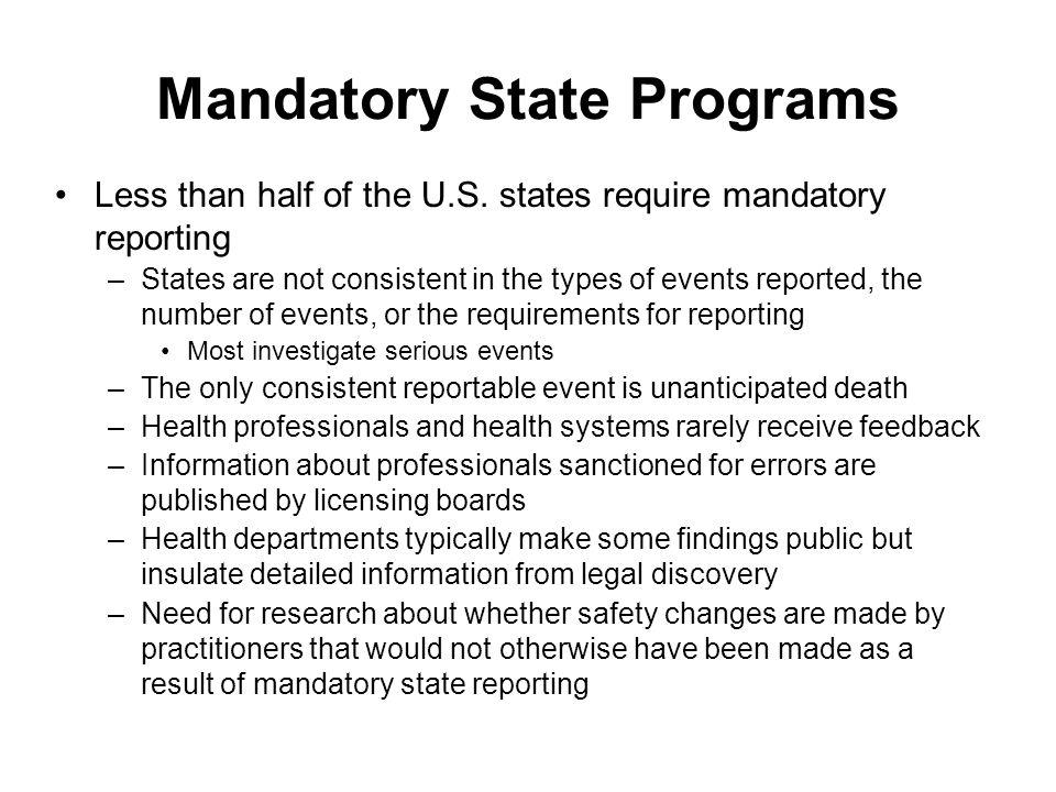 Mandatory State Programs