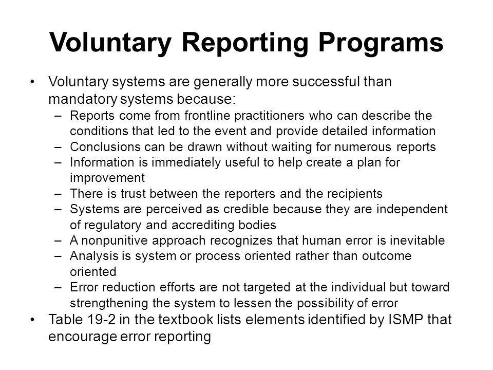 Voluntary Reporting Programs