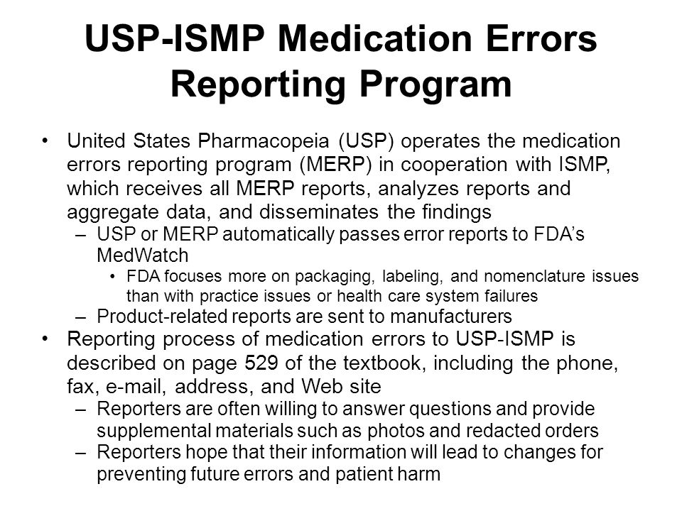 USP-ISMP Medication Errors Reporting Program