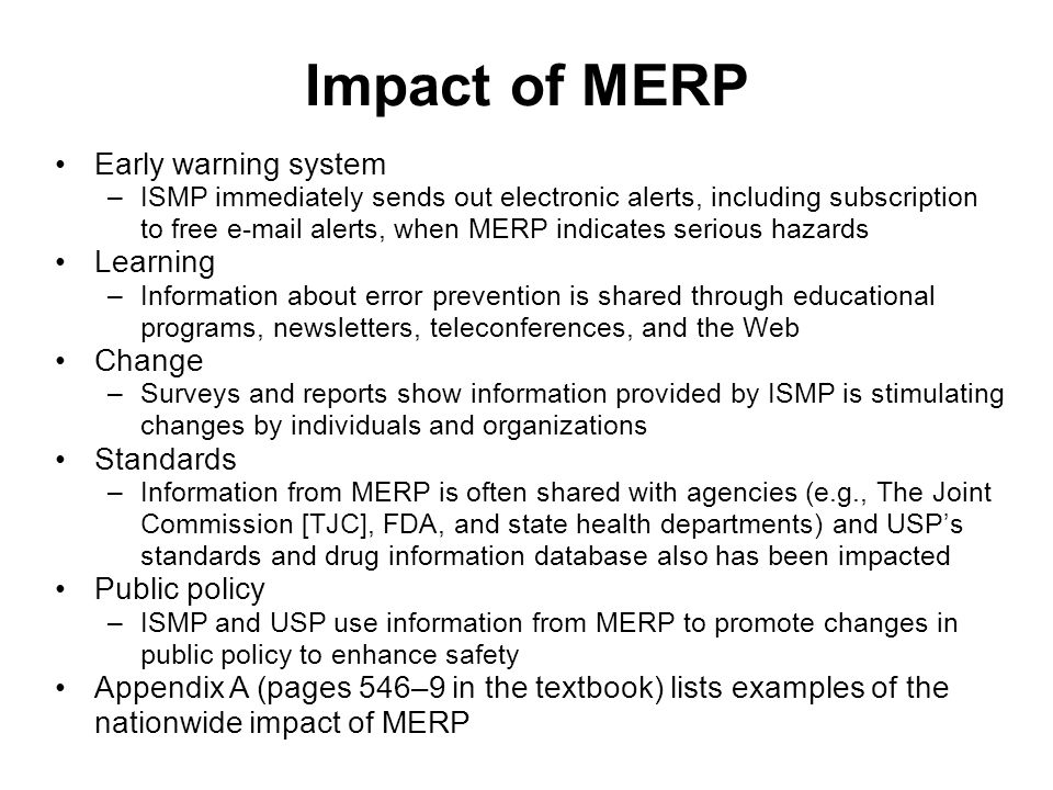 Impact of MERP Early warning system Learning Change Standards