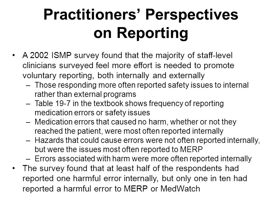Practitioners' Perspectives on Reporting
