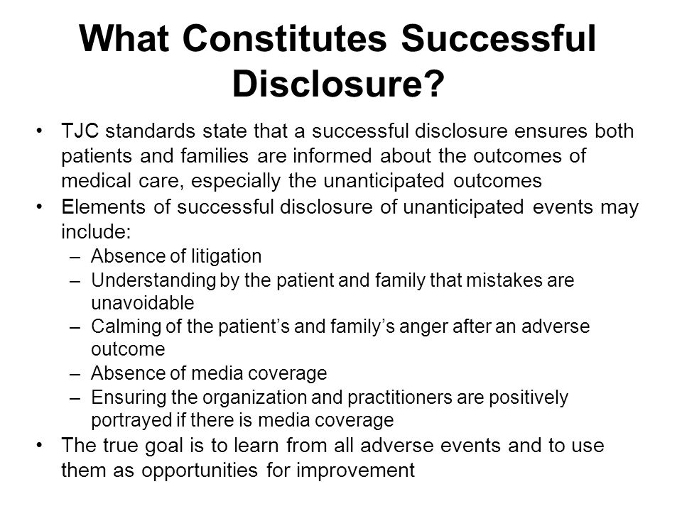 What Constitutes Successful Disclosure