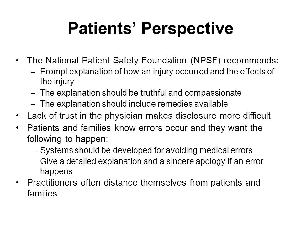 Patients' Perspective