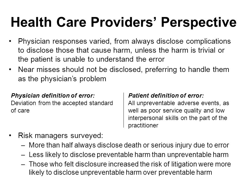 Health Care Providers' Perspective