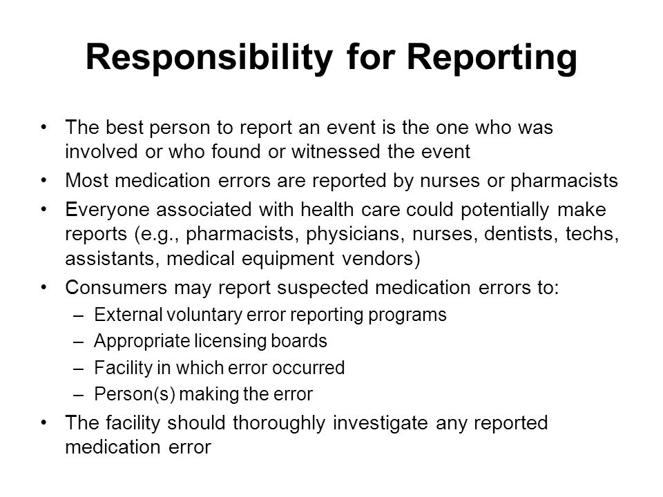 Responsibility for Reporting