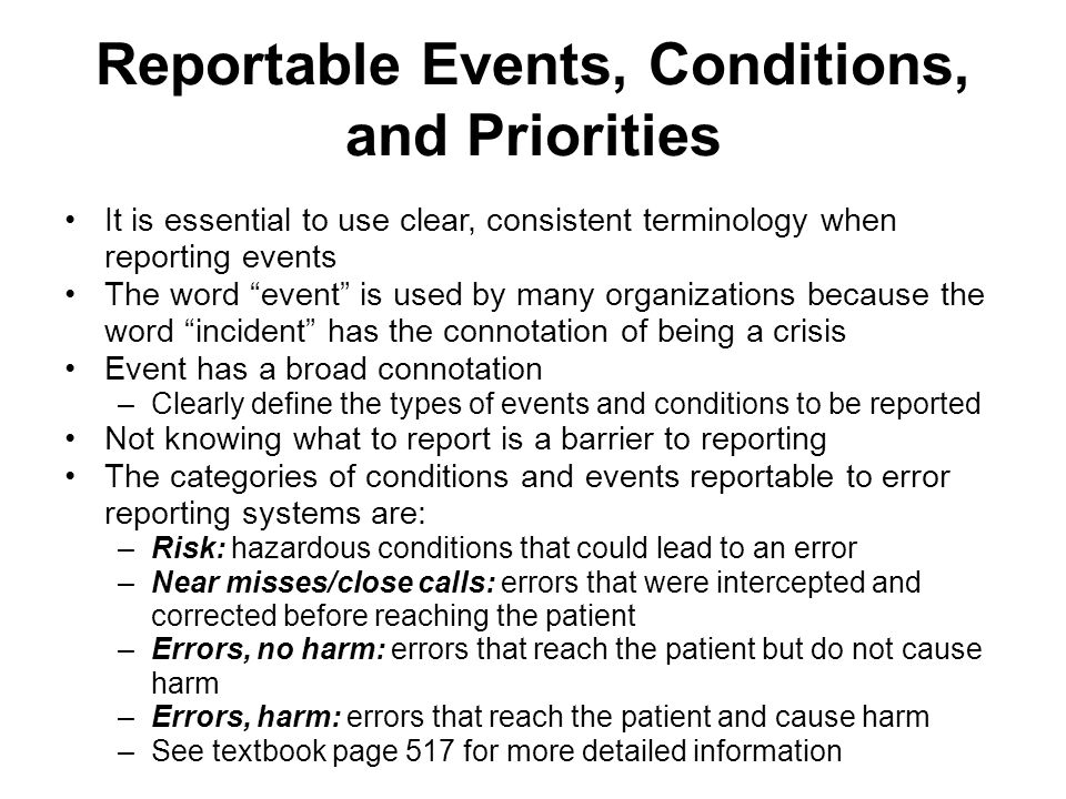 Reportable Events, Conditions, and Priorities