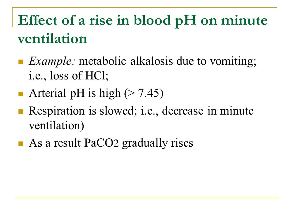 Effect of a rise in blood pH on minute ventilation
