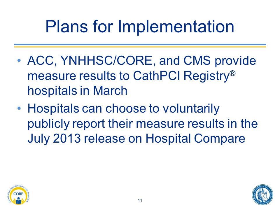 Plans for Implementation