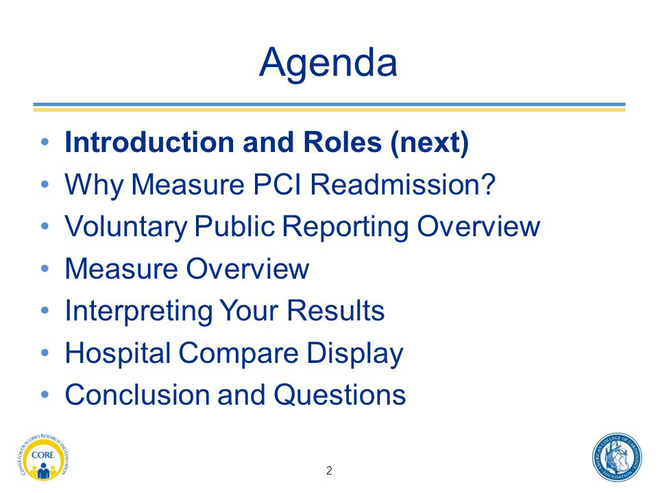 Agenda Introduction and Roles (next) Why Measure PCI Readmission