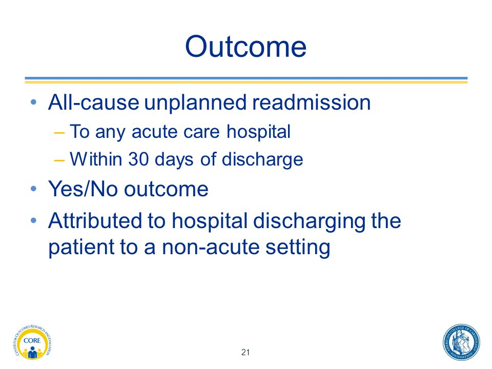 Outcome All-cause unplanned readmission Yes/No outcome