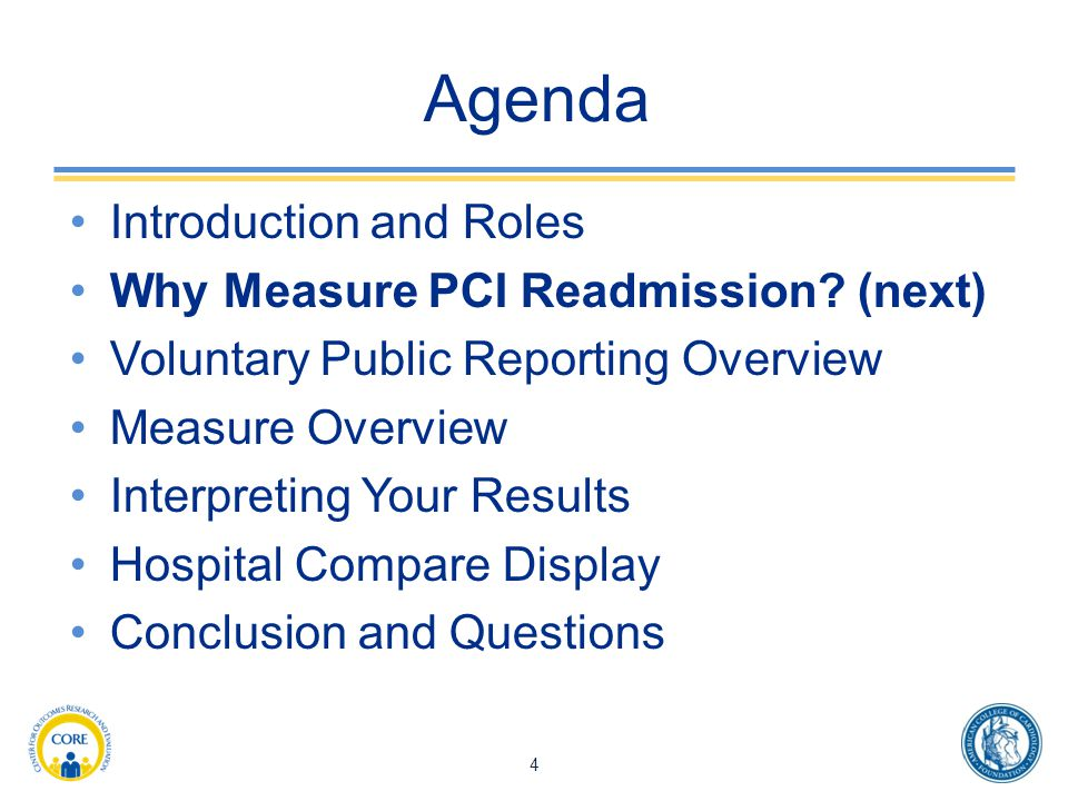 Agenda Introduction and Roles Why Measure PCI Readmission (next)