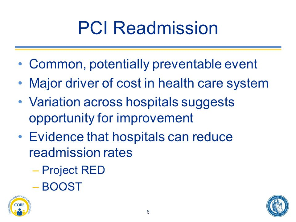 PCI Readmission Common, potentially preventable event