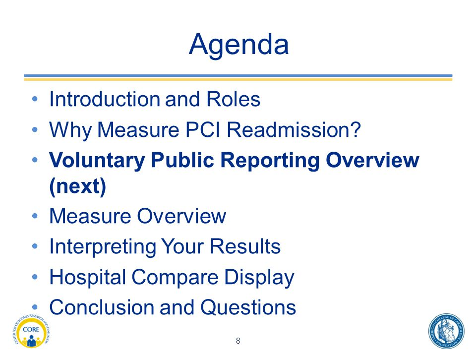 Agenda Introduction and Roles Why Measure PCI Readmission