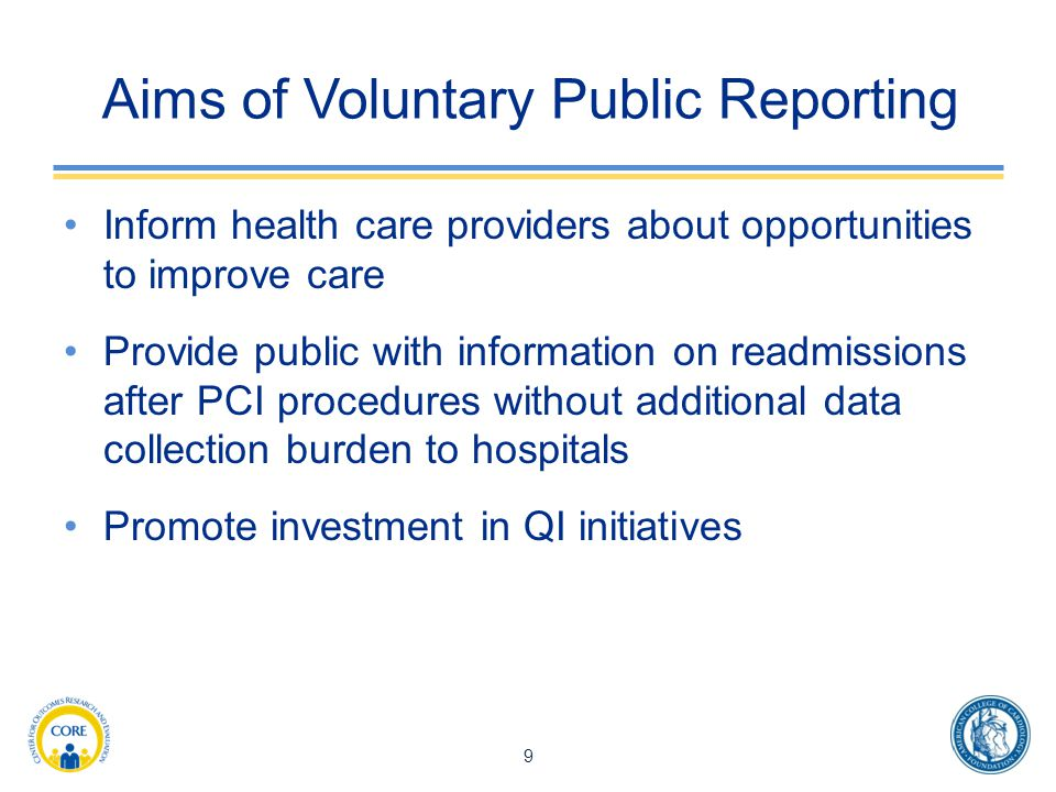 Aims of Voluntary Public Reporting
