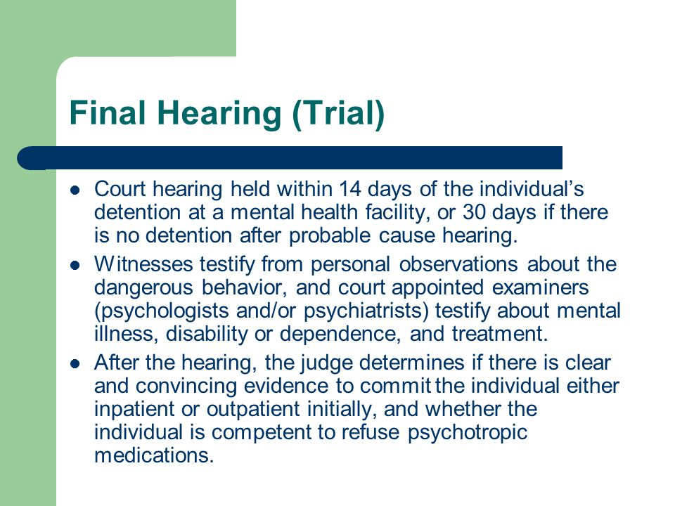 Final Hearing (Trial)
