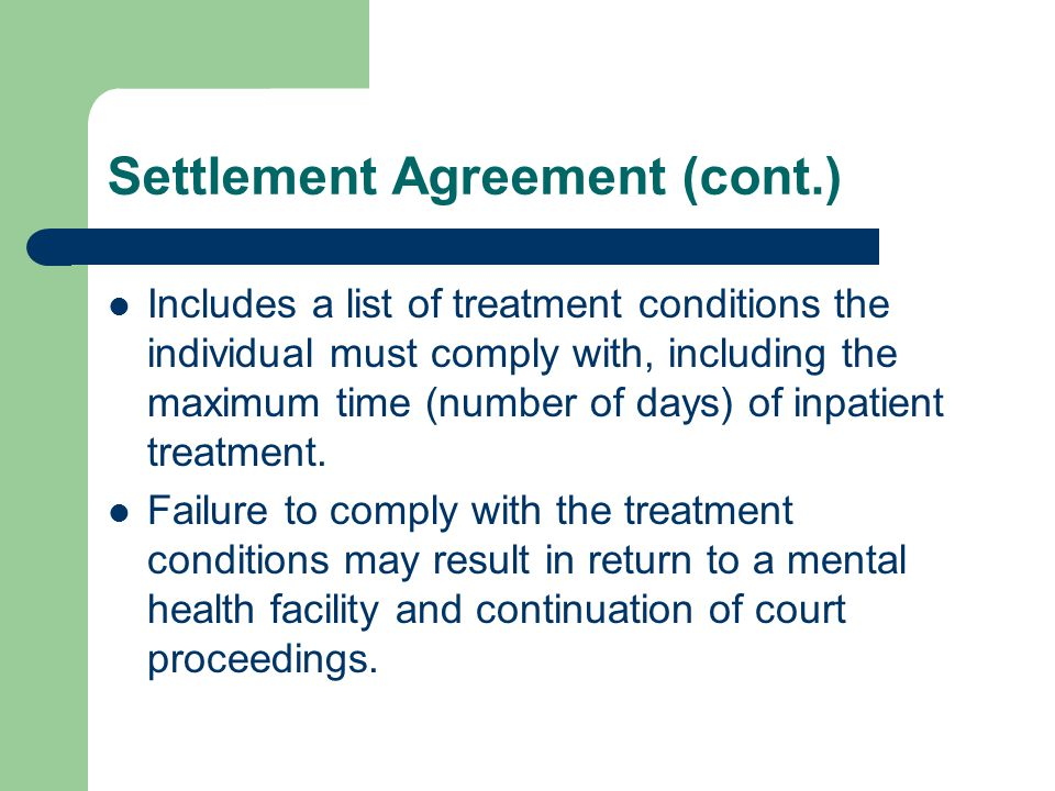 Settlement Agreement (cont.)