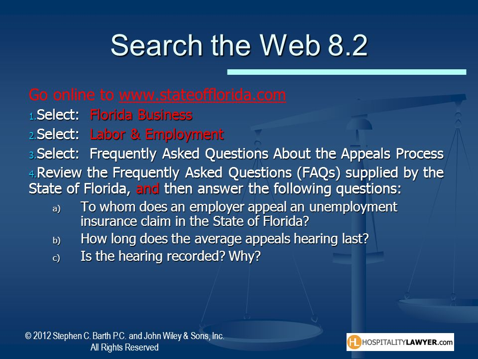 Search the Web 8.2 Go online to www.stateofflorida.com