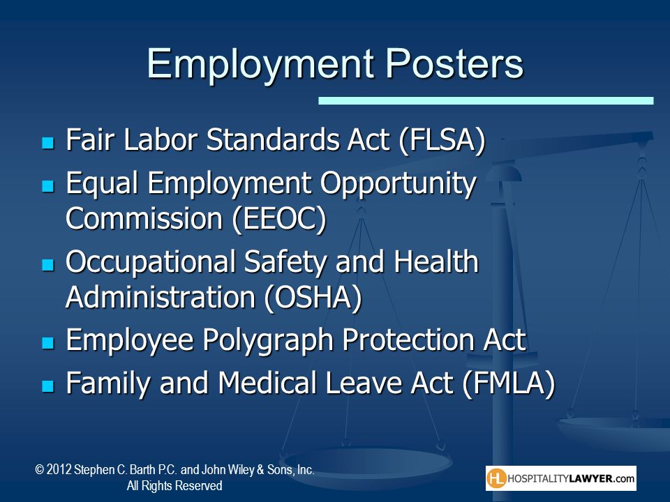 Employment Posters Fair Labor Standards Act (FLSA)