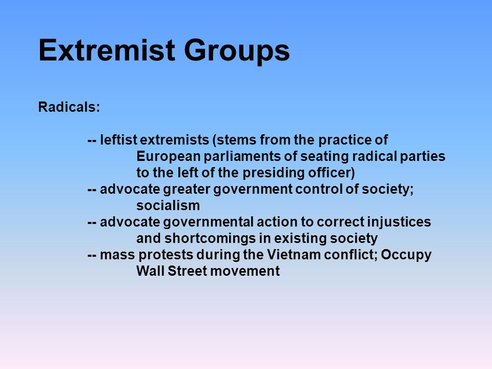 Extremist Groups Radicals: