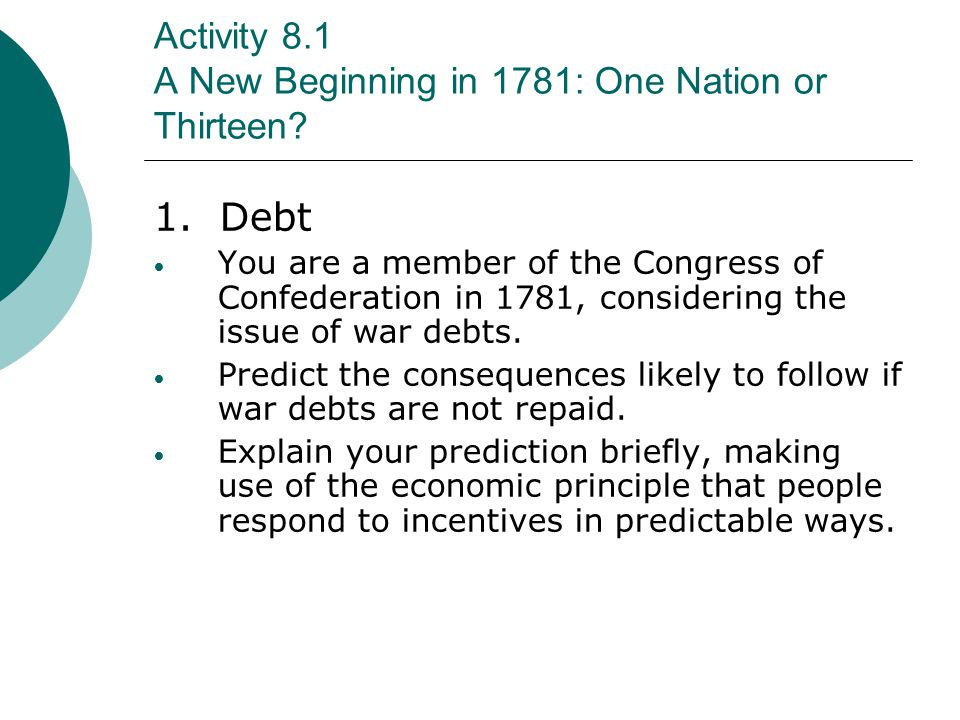 Activity 8.1 A New Beginning in 1781: One Nation or Thirteen