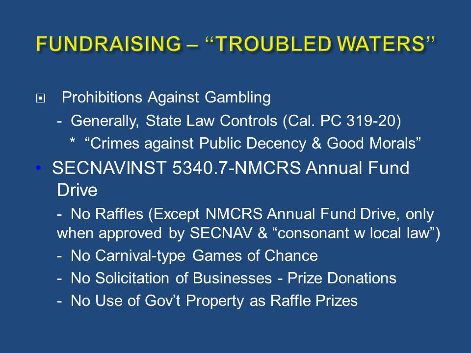 FUNDRAISING – TROUBLED WATERS