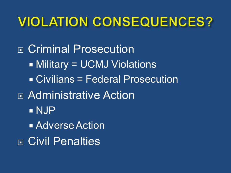 VIOLATION CONSEQUENCES