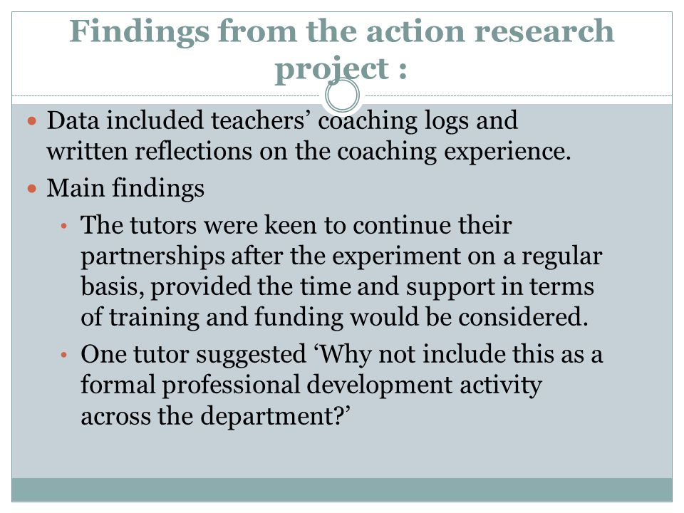 Findings from the action research project :