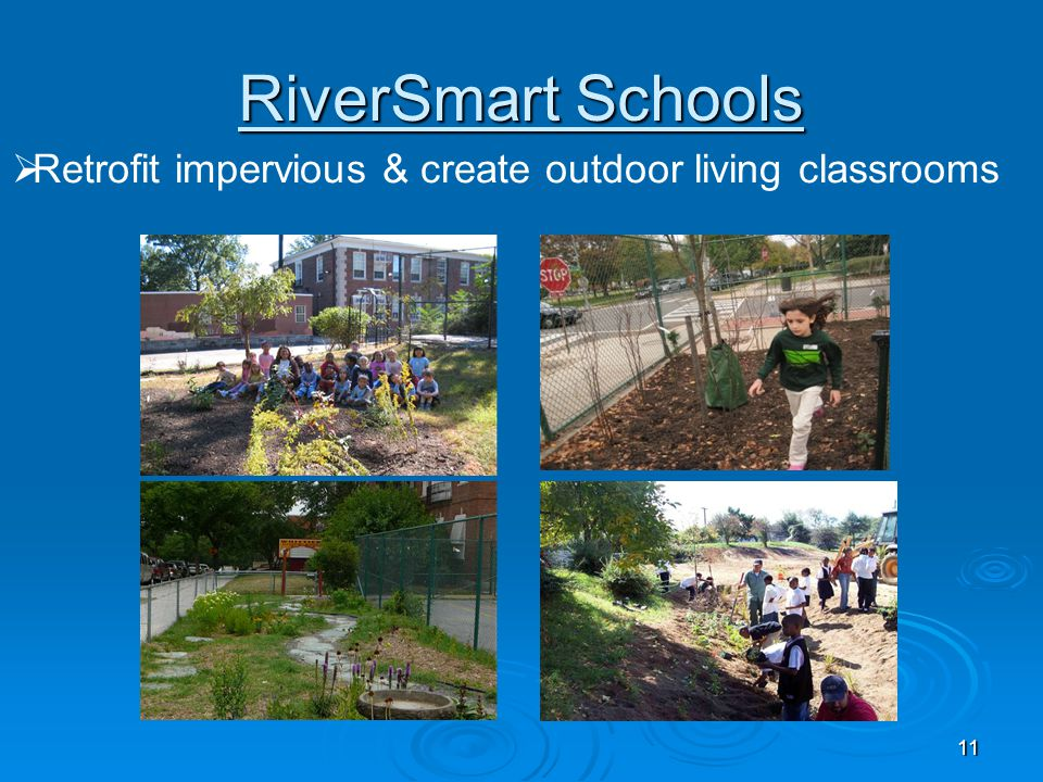 RiverSmart Schools Retrofit impervious & create outdoor living classrooms.