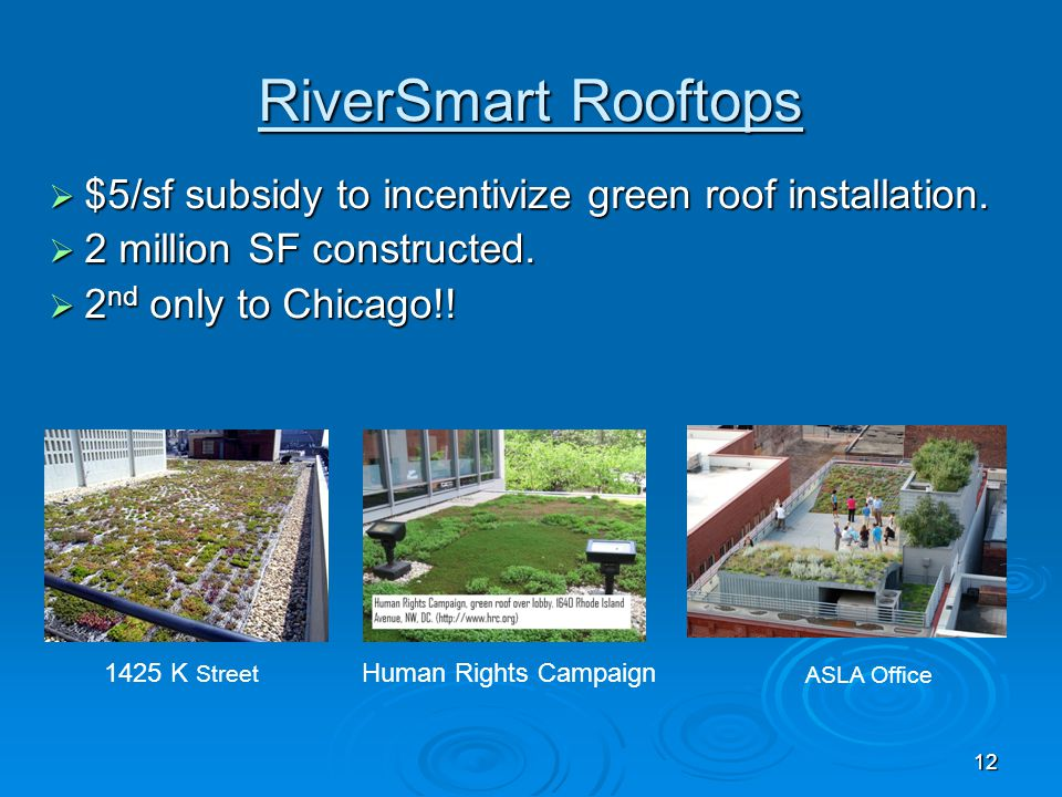RiverSmart Rooftops $5/sf subsidy to incentivize green roof installation. 2 million SF constructed.