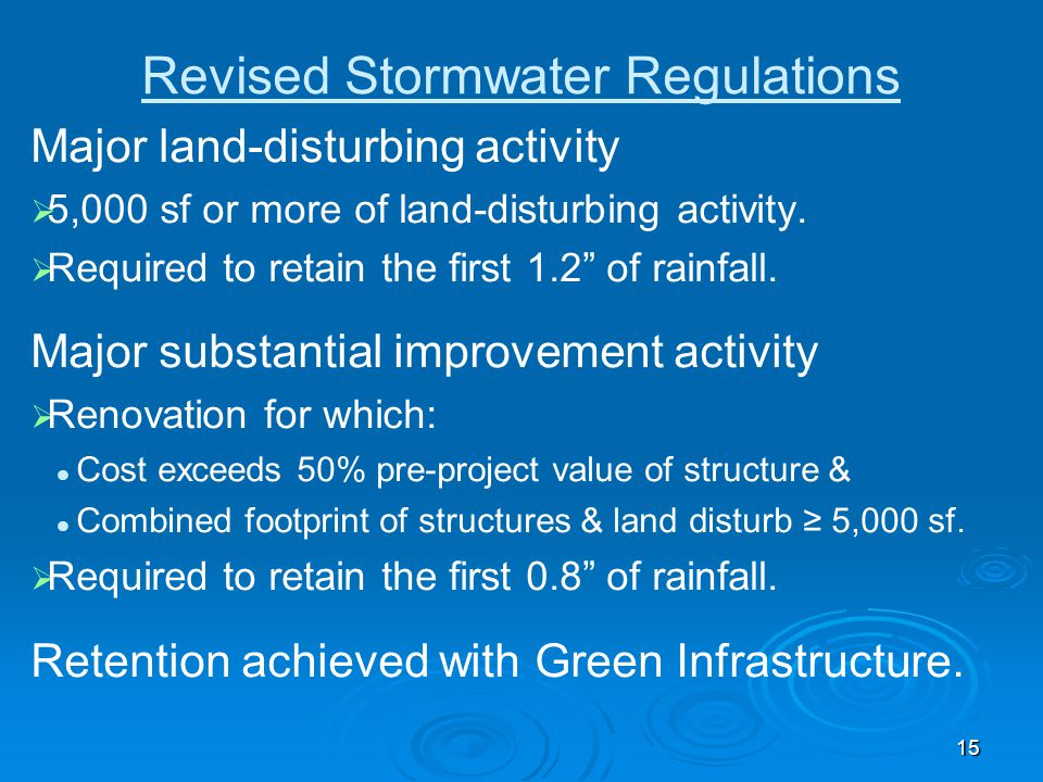 Revised Stormwater Regulations