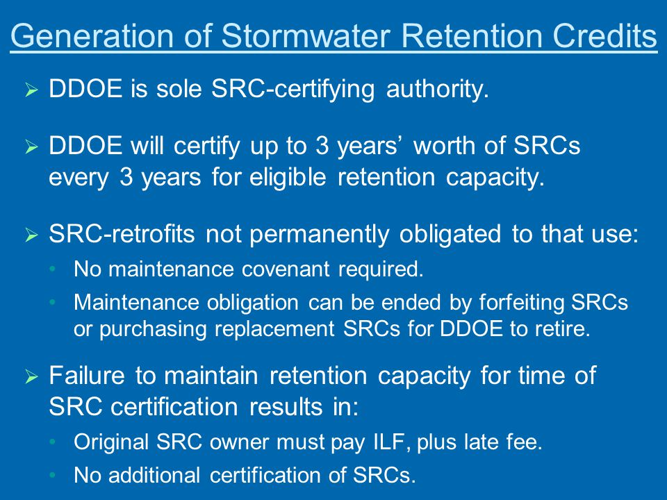 Generation of Stormwater Retention Credits