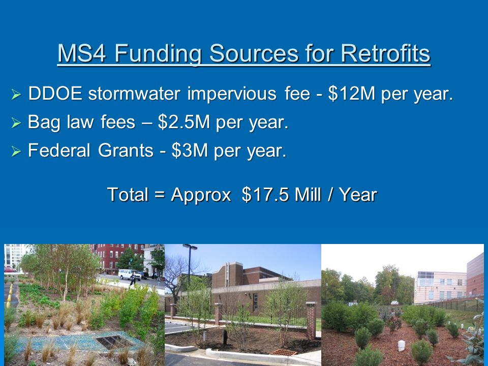 MS4 Funding Sources for Retrofits