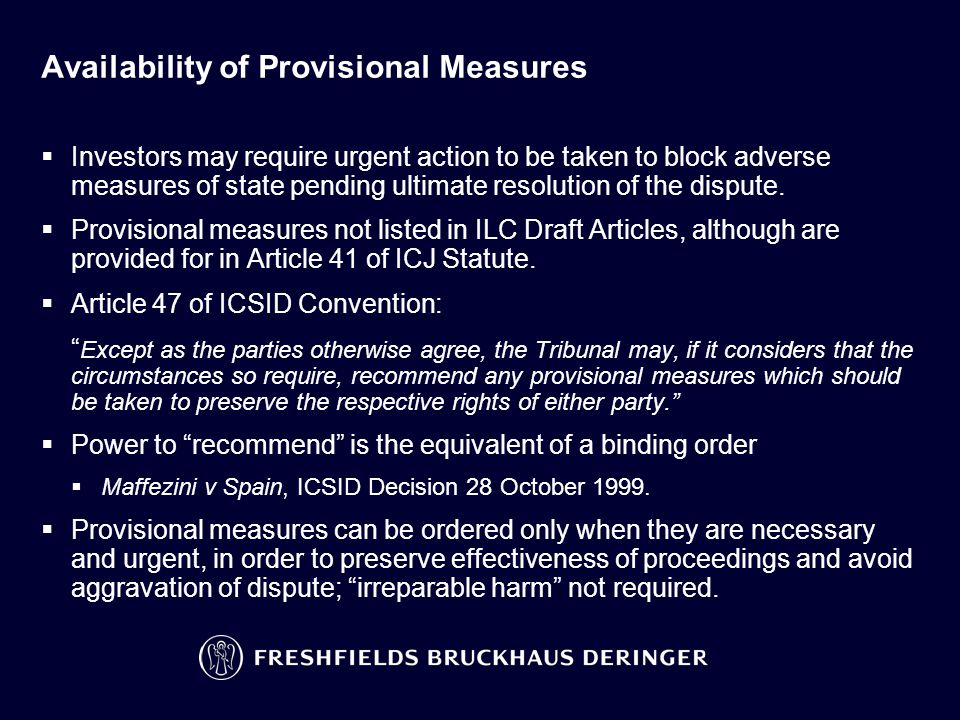 ICSID Provisional Measures