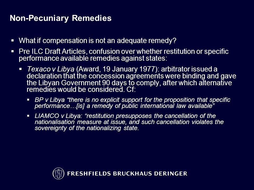 Non-Pecuniary Remedies