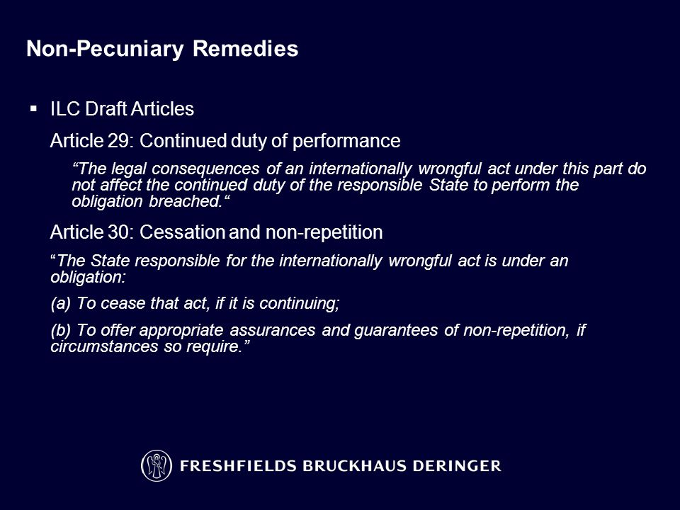 Non-Pecuniary Remedies (continued)