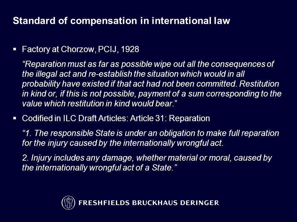Standard of compensation in international law