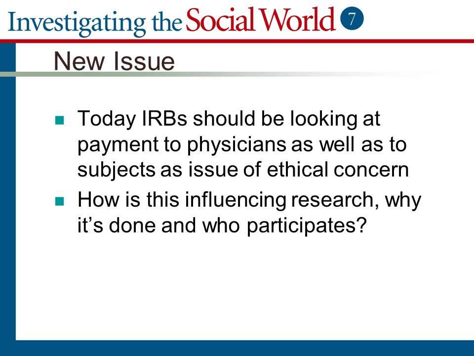New Issue Today IRBs should be looking at payment to physicians as well as to subjects as issue of ethical concern.