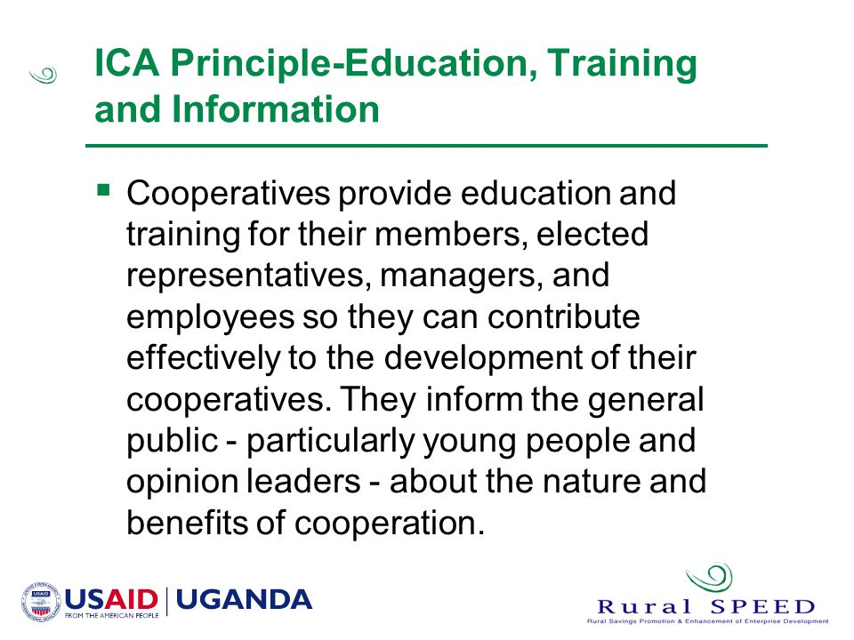 ICA Principle-Education, Training and Information