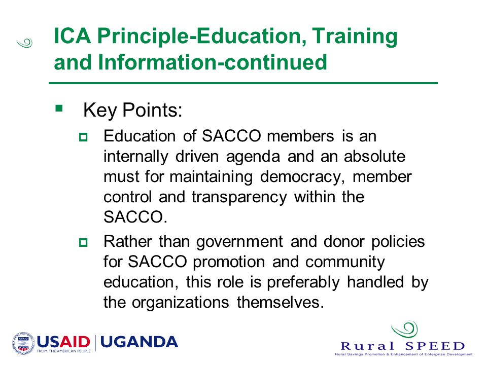 ICA Principle-Education, Training and Information-continued