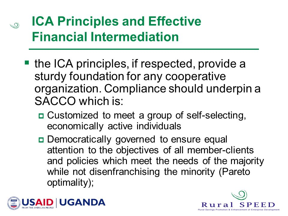 ICA Principles and Effective Financial Intermediation