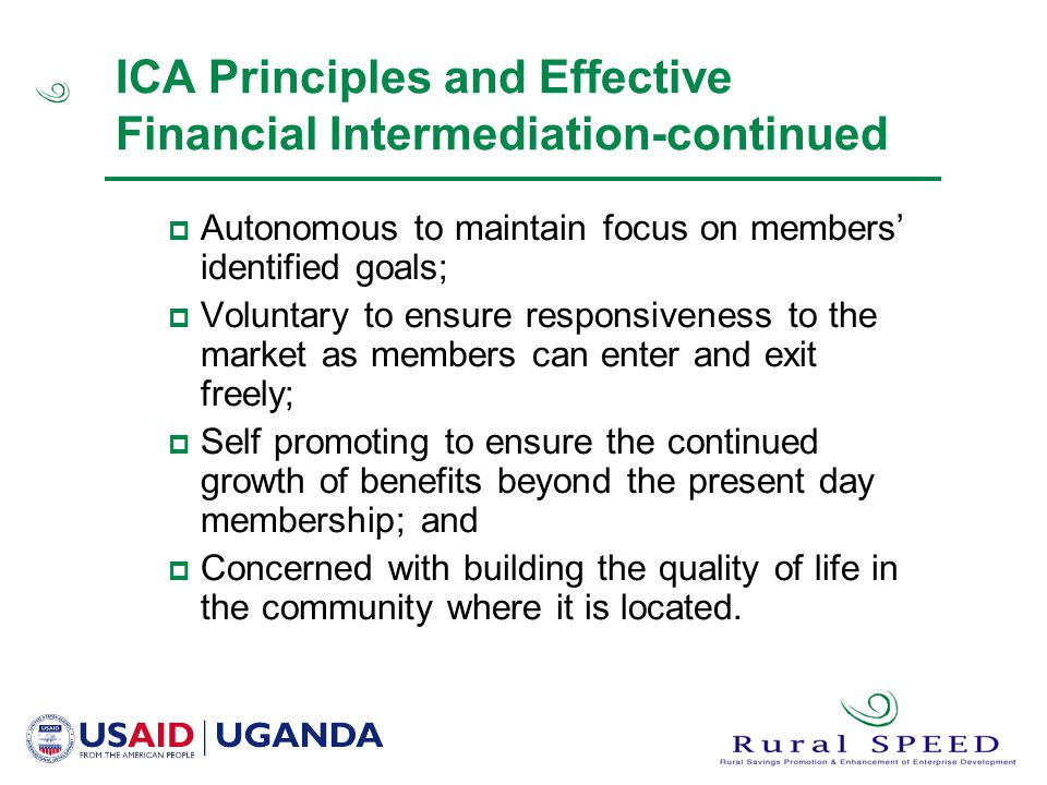 ICA Principles and Effective Financial Intermediation-continued