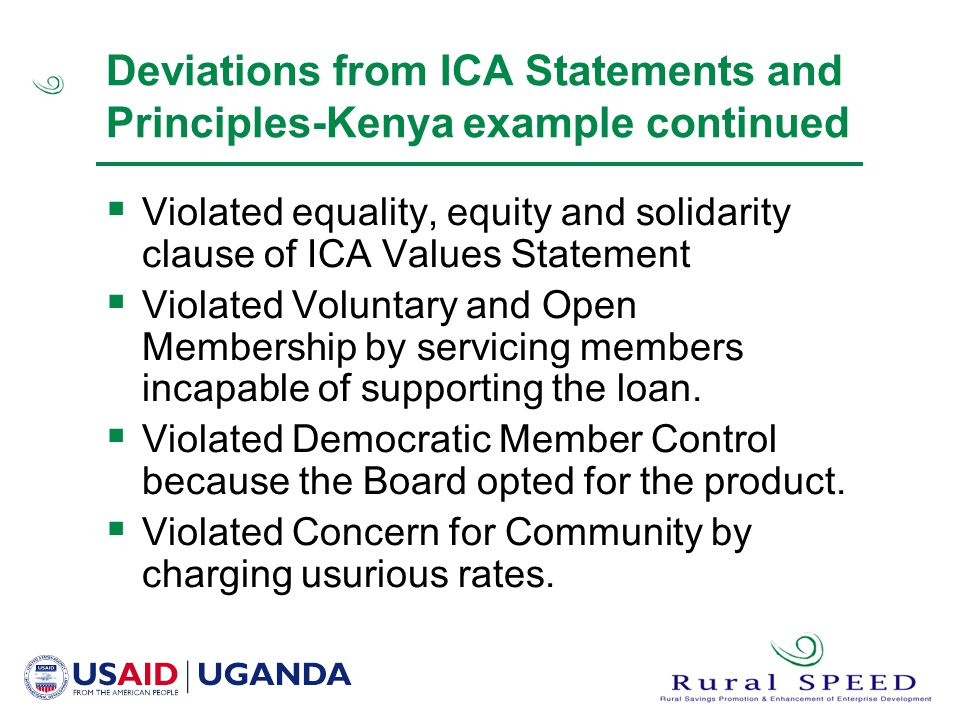 Deviations from ICA Statements and Principles-Kenya example continued