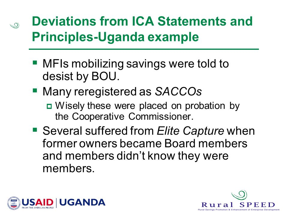 Deviations from ICA Statements and Principles-Uganda example