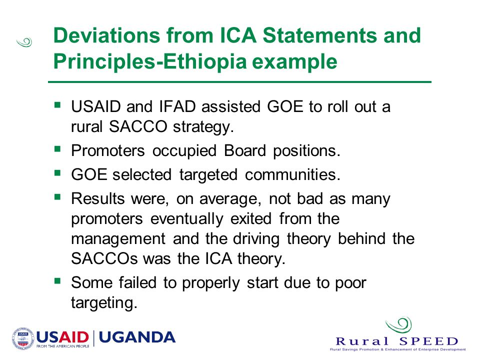 Deviations from ICA Statements and Principles-Ethiopia example