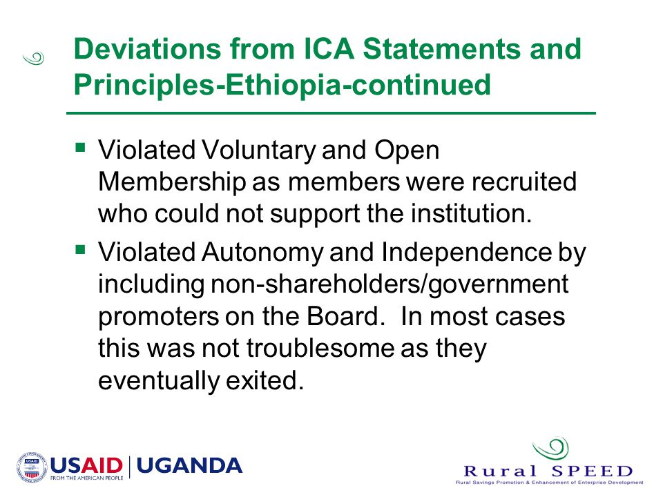 Deviations from ICA Statements and Principles-Ethiopia-continued