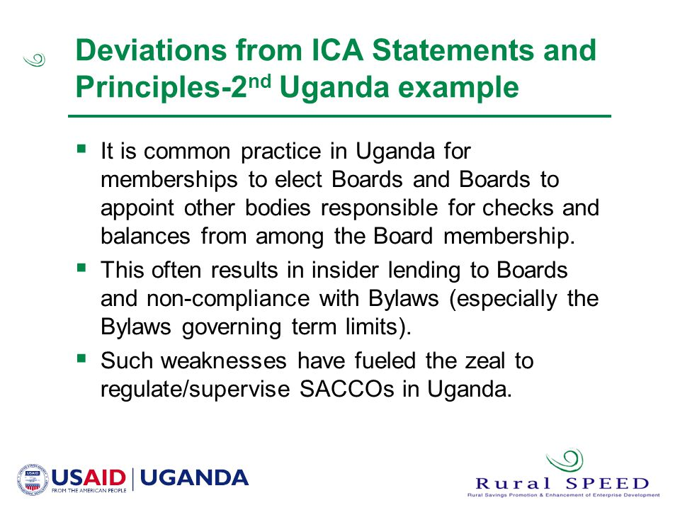 Deviations from ICA Statements and Principles-2nd Uganda example