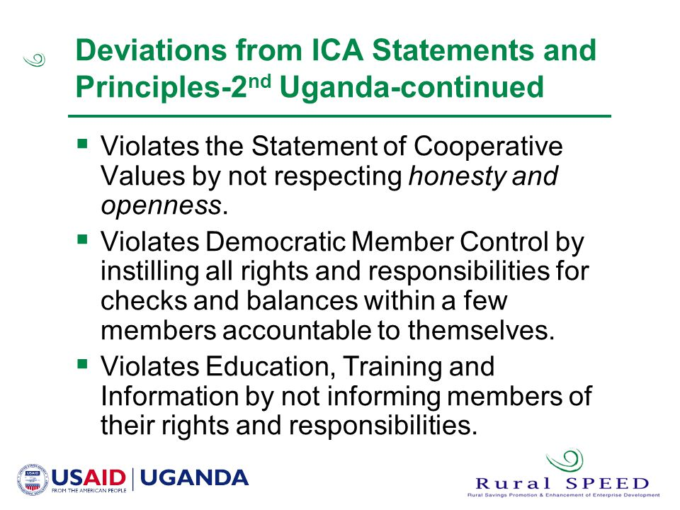 Deviations from ICA Statements and Principles-2nd Uganda-continued
