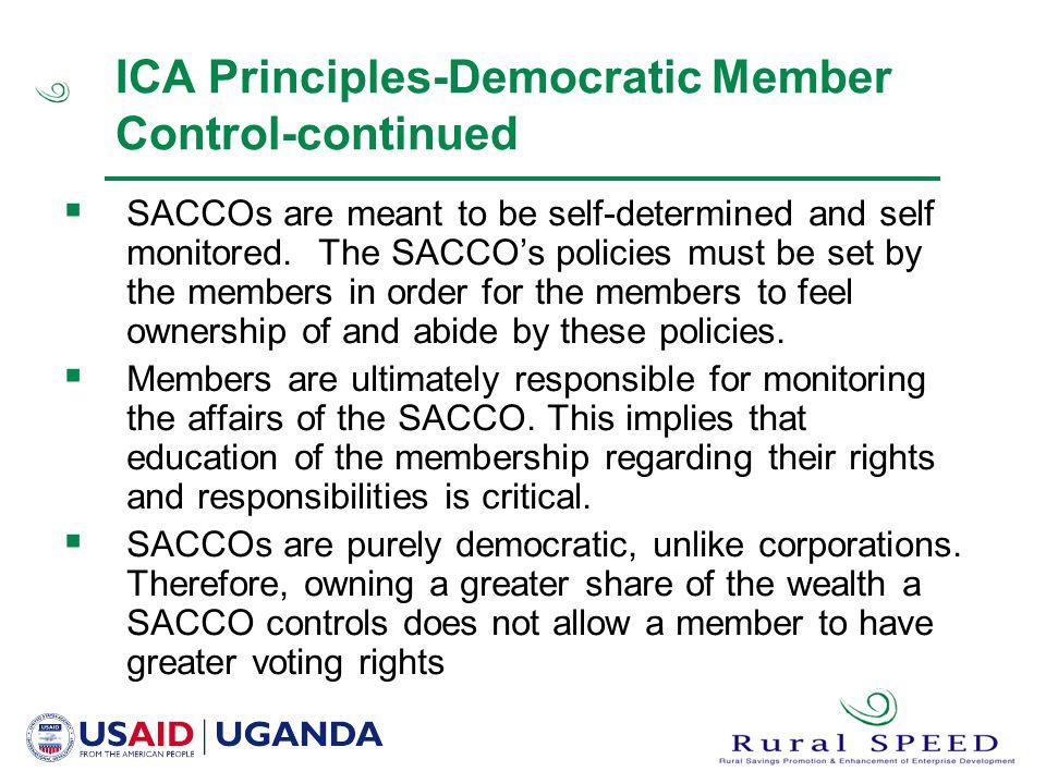 ICA Principles-Democratic Member Control-continued