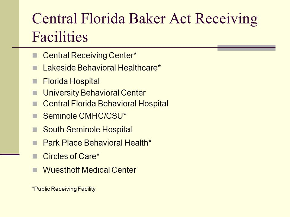 Central Florida Baker Act Receiving Facilities